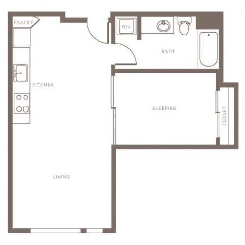 652 square foot one bedroom with slider doors one bath apartment floorplan image