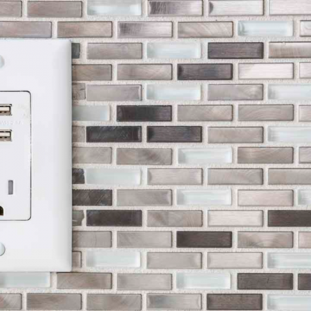 Wall outlet with USB plug ins in an apartment at Modera Mosaic.