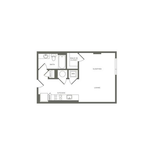 530 square foot studio one bath floor plan image