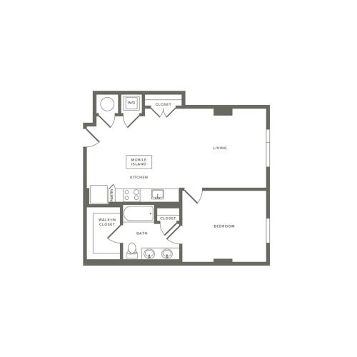 728 to 735 square foot one bedroom one bath apartment floorplan image