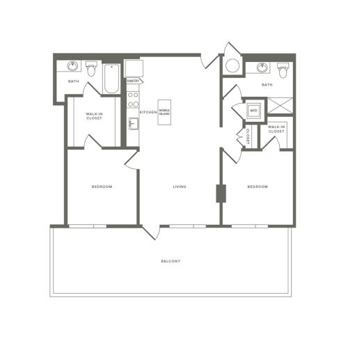 1063 square foot two bedroom two bath apartment floorplan image