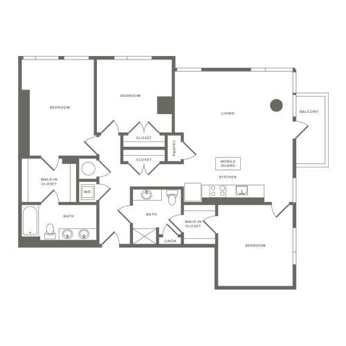 1367 to 1412 square foot three bedroom two bath apartment floorplan image