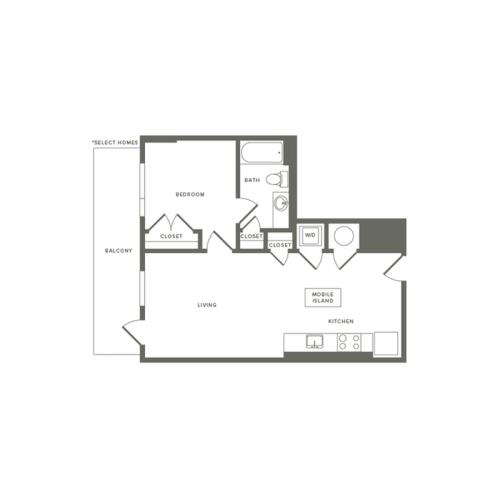604 to 620 square foot one bedroom one bath apartment floorplan image