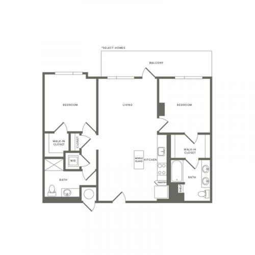 1021 to 1049 square foot two bedroom two bath apartment floorplan image