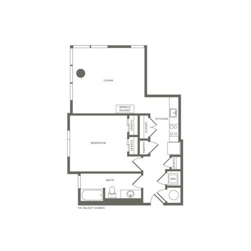 776 square foot one bedroom one bath apartment floorplan image