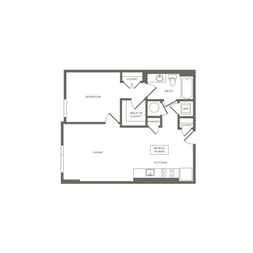 702 to 711 square foot one bedroom one bath apartment floorplan image