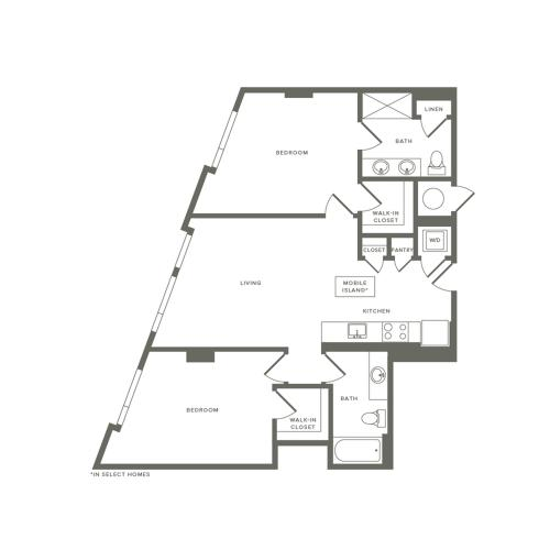 1021 square foot two bedroom two bath apartment floorplan image