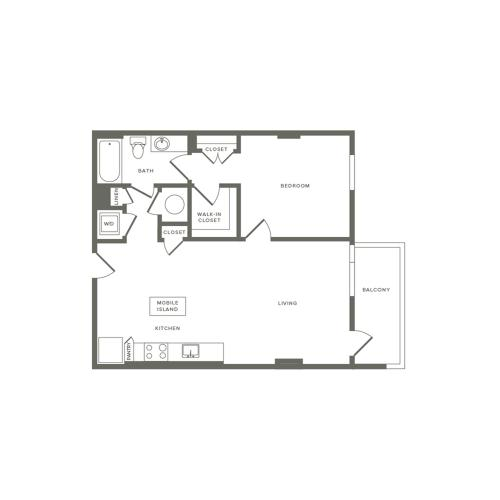 763 to 771 square foot one bedroom one bath apartment floorplan image