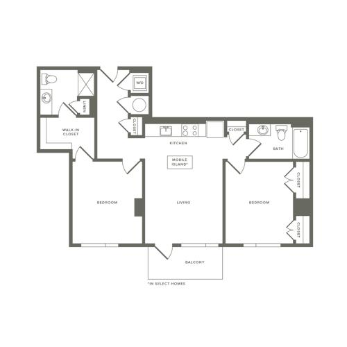 929 to 958 square foot two bedroom two bath apartment floorplan image