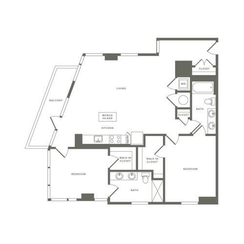 1274 square foot two bedroom two bath apartment floorplan image