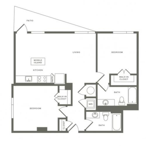 1002 square foot two bedroom two bath apartment floorplan image