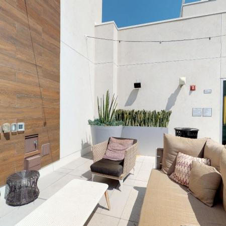 Outdoor sky lounge with TV and ample seating