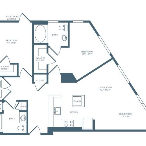 1208 square foot two bedroom two bath apartment floorplan image