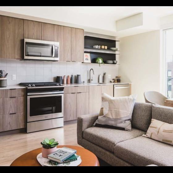 Modera Broadway Living Room and Kitchen