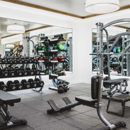 Fitness studio with mirrors offers a various of weights including hand weights and kettlebells at Modera Broadway apartments.
