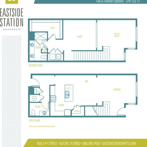 1247 square foot one bedroom loft one and a half bath apartment floorplan image