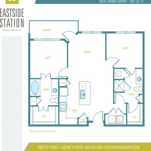 992 square foot two bedroom two bath apartment floorplan image