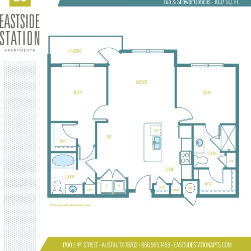 1037 square foot two bedroom two bath apartment floorplan image