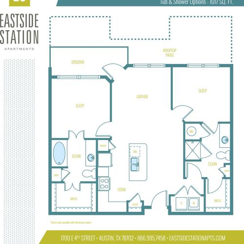 1017 square foot two bedroom two bath apartment floorplan image