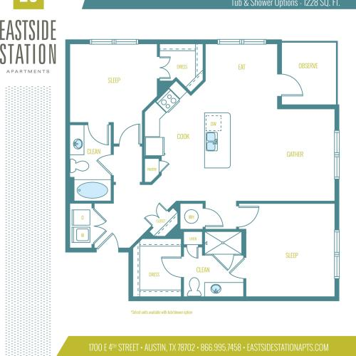1228 square foot two bedroom two bath apartment floorplan image