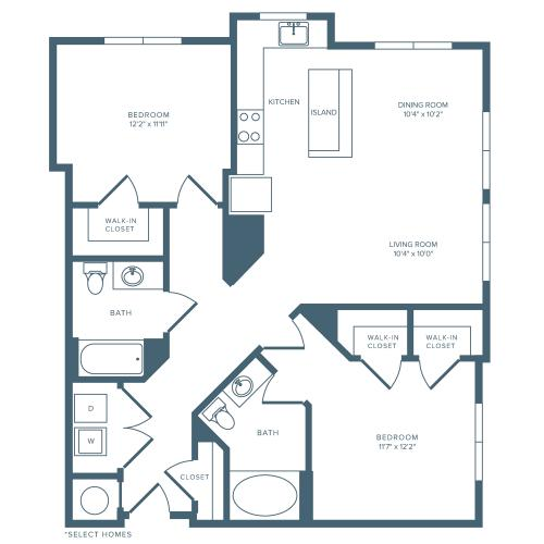 1102 square foot two bedroom two bath apartment floorplan image