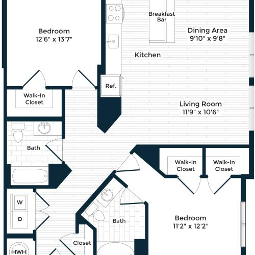 1235 square foot two bedroom two bath apartment floorplan image