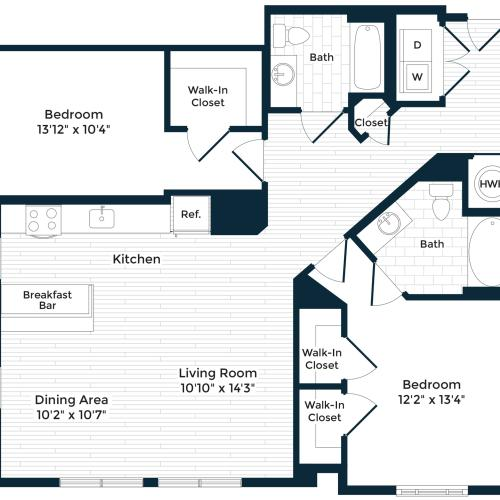 1254 square foot two bedroom two bath apartment floorplan image