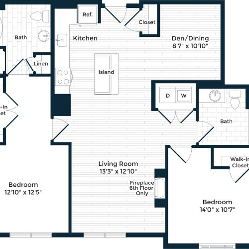 1316 square foot two bedroom two bath apartment floorplan image