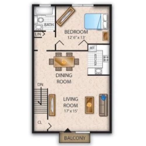 Floor Plan 1 | Pine Hill Apartments | Cedar Brook