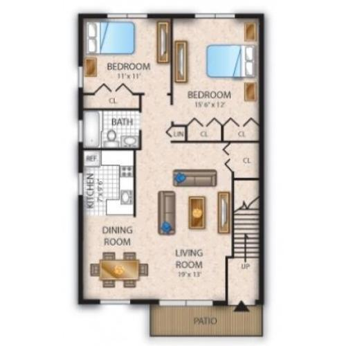 Floor Plan 9 | Apartments In Pine Hill NJ | Cedar Brook