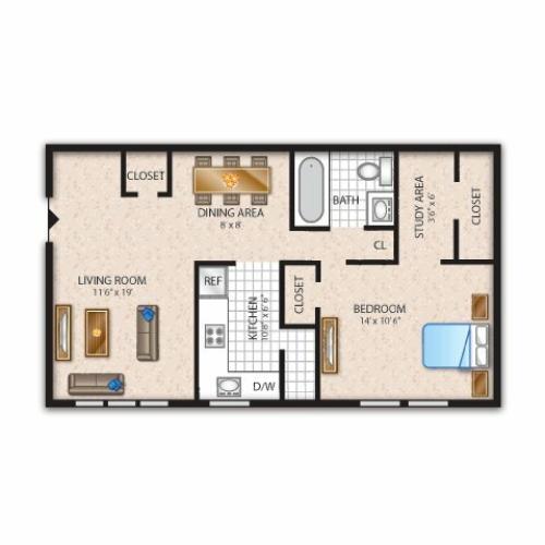 Floor Plan 1 | Newark Apartments | Liberty Pointe
