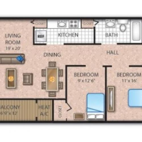 2 Bedroom Floor Plan | Apartments In Deptford NJ | Timber Pointe Apartments