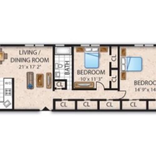Floor Plan 4 | Apartments Barrington NJ | Union Grove