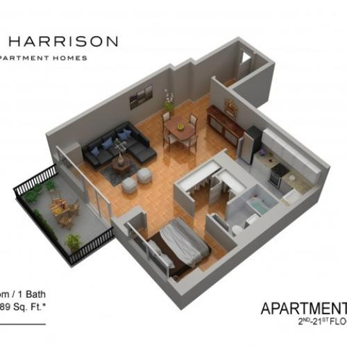 3D Floor Plan 3 | Luxury Apartments In Somerset NJ | The Harrison