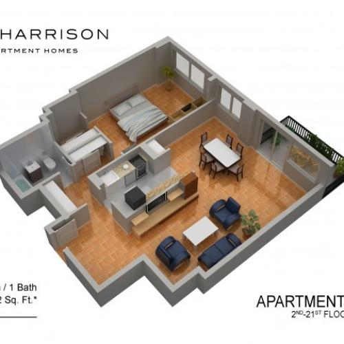 3D Floor Plan 9 | Somerset NJ Luxury Apartments | The Harrison