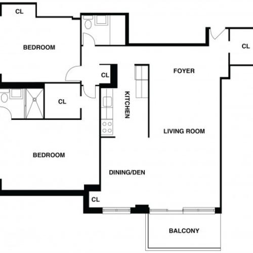 2D Floor Plan 12 | Somerset Apartment | The Harrison