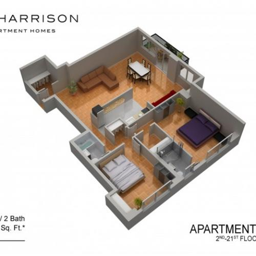 3D Floor Plan 12 | Somerset Apartment | The Harrison
