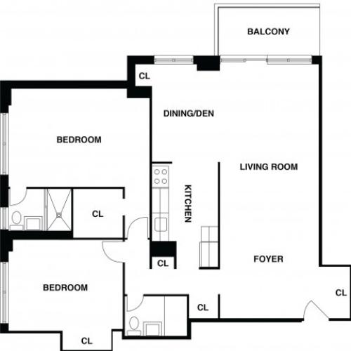 2D Floor Plan 15 | Somerset NJ Apartments | The Harrison