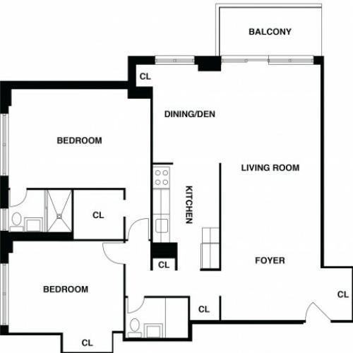 2D Floor Plan 15 | Somerset NJ Apartments | The Harrison