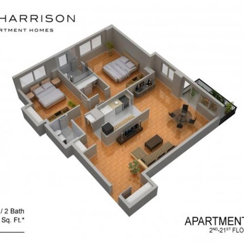 3D Floor Plan 15 | Somerset NJ Apartments | The Harrison