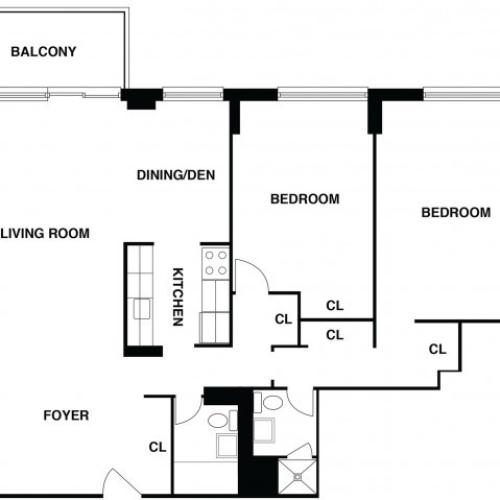 2D Floor Plan 18 | Luxury Apartments In Somerset NJ | The Harrison