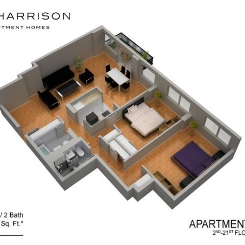 3D Floor Plan 18 | Luxury Apartments In Somerset NJ | The Harrison