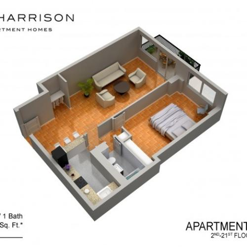 3D Floor Plan 24 | Somerset NJ Luxury Apartments | The Harrison