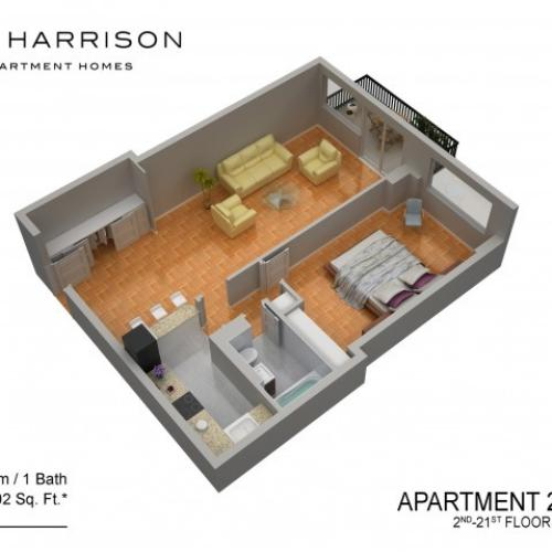 3D Floor Plan 30 | Somerset NJ Apartments | The Harrison