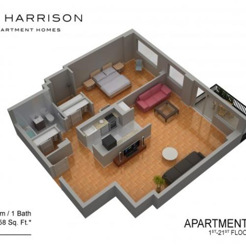3D Floor Plan 33 | Luxury Apartments In Somerset NJ | The Harrison