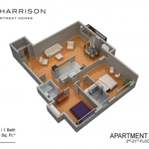 3D Floor Plan 36 | Somerset Apartments | The Harrison