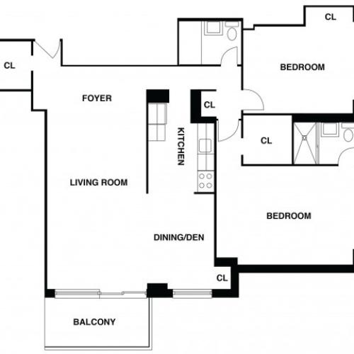 2D Floor Plan 39 | Somerset NJ Luxury Apartments | The Harrison