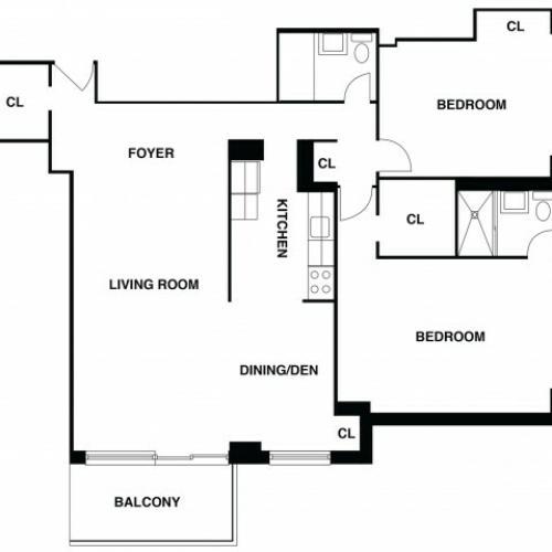 2D Floor Plan 39 | Somerset NJ Luxury Apartments | The Harrison