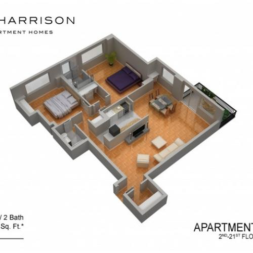 3D Floor Plan 39 | Somerset NJ Luxury Apartments | The Harrison