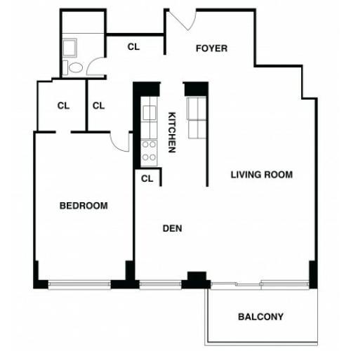 2D Floor Plan 42 | Somerset Apartment | The Harrison
